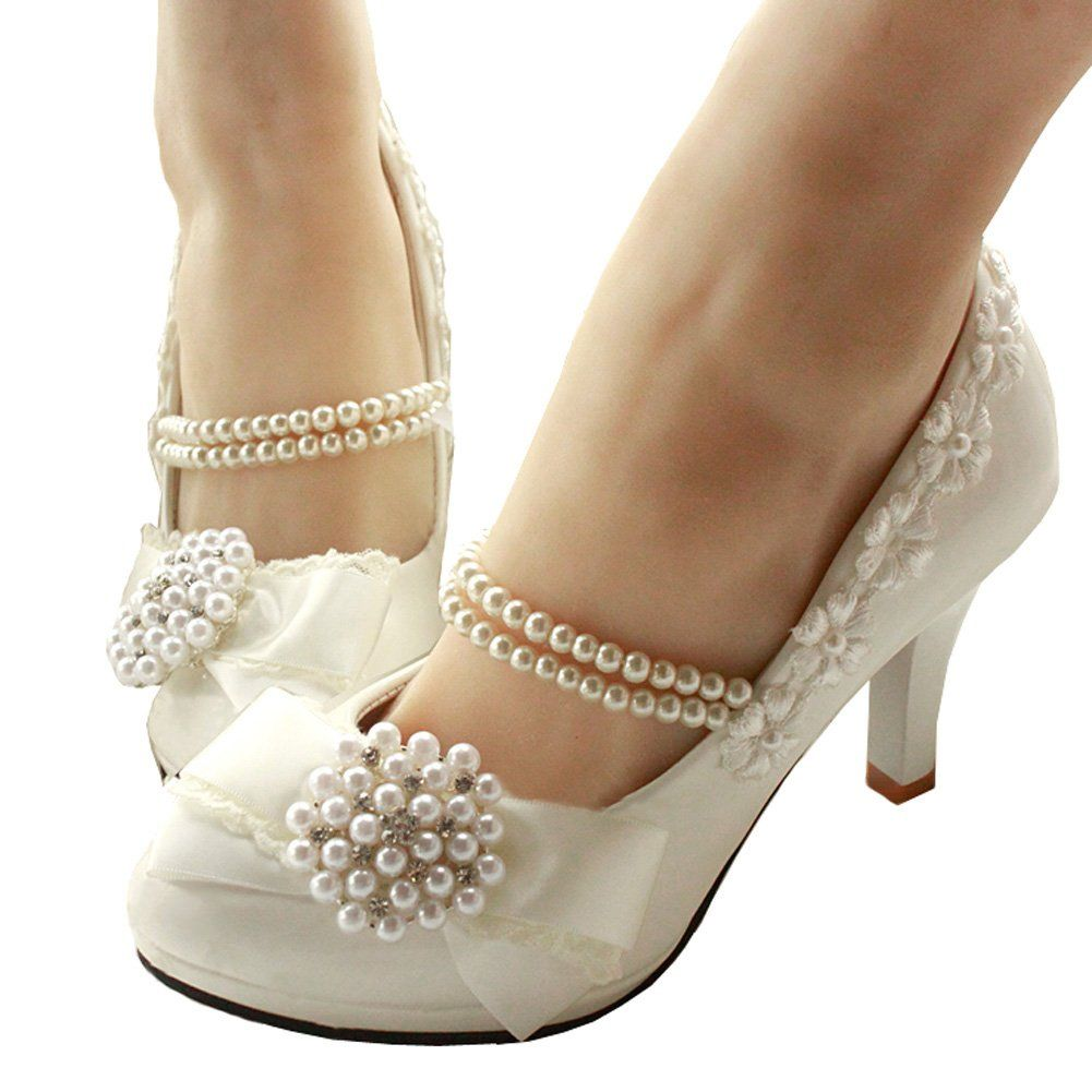 80c91f1bc93b getmorebeauty Womens With Pearls Across Ankle Top High Heel Wedding Shoes  10 BM US    Learn more by visiting the image link.-It is an affiliate link  to ...