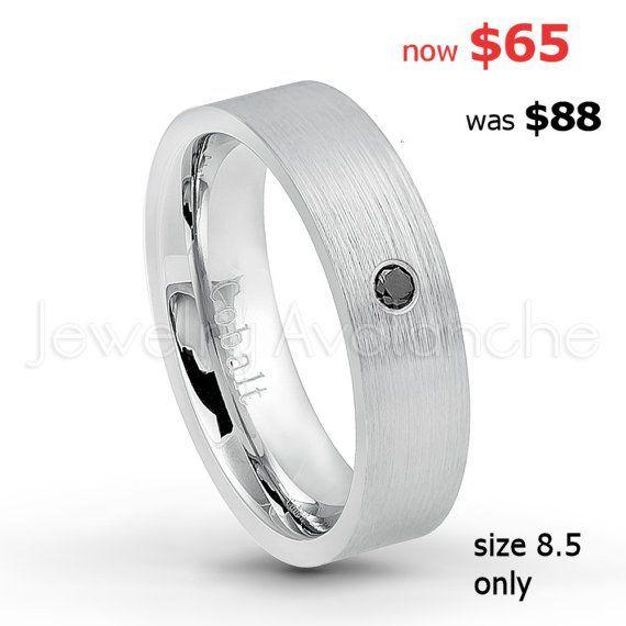 0.07ct Alexandrite Titanium Ring June Birthstone Ring 12.5 6MM Brushed Finish Comfort Fit Stepped Edge White Wedding Band