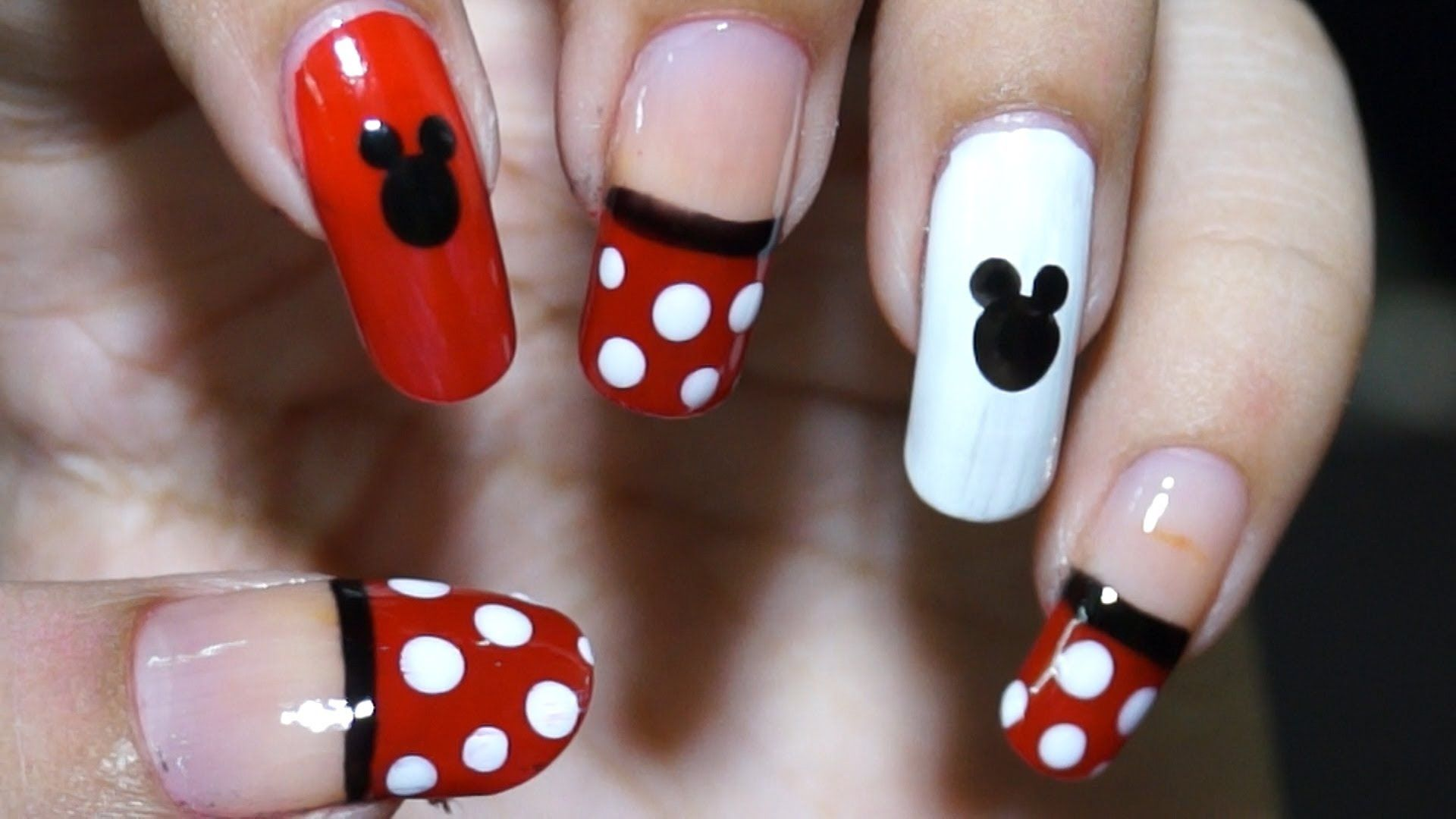 Nail Art At Home Easy Cool Mickey Mouse Design In Steps Nail Art For Beginners Simple Nail Designs Simple Nail Art Designs