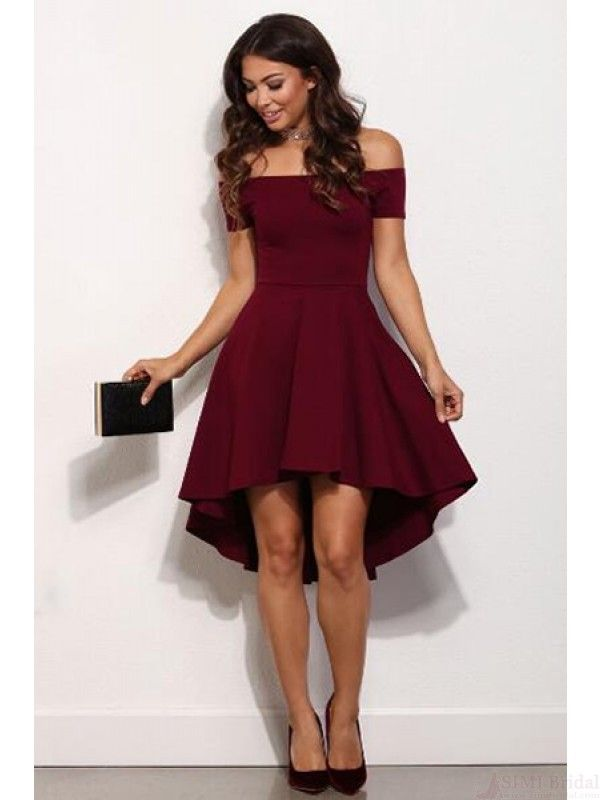 79e51ca20c2 High Low Burgundy Off Shoulder Homecoming Dresses (ED1743)
