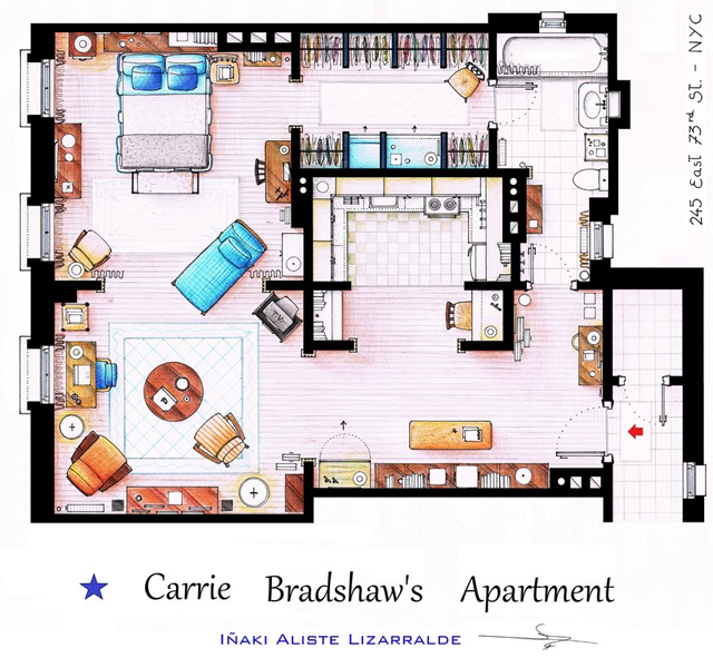 This Is A House Plan Based In The Apartment Of Carrie Bradshaw From Tv Show City Not Movie It S An Original Hand Drawed Pla
