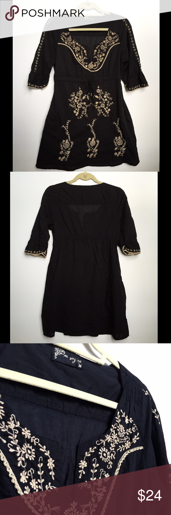 Black Mexican embroidered tunic Beautiful blousey embroidered tunic dress, machine wash delicate, never worn but washed for sale, 30 inches from shoulder to hem, 16 inches at waist laying flat, 20 inches at hip laying flat Dresses
