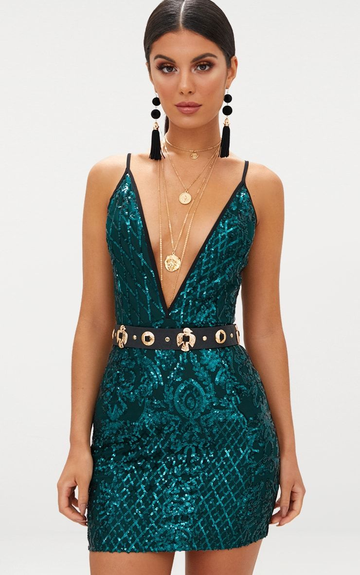 b85f3808 Emerald Green Strappy Sequin Dress in 2019 | ilusion | Green sequin ...