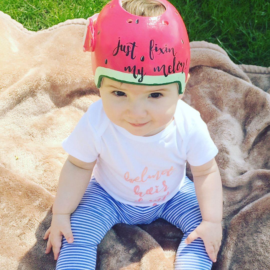I Hand Painted Edens Gillette CranioCap Cranial Helmet So She - Baby helmet decalsbaby helmets lee pinterest creative baby helmet and babies