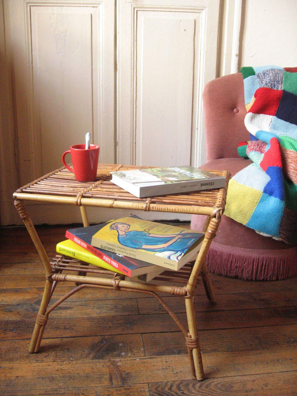 Table Basse Vintage En Rotin Double Plateau Porte Revue Table