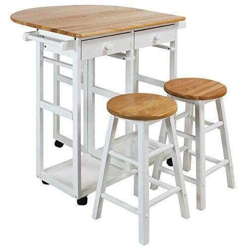 100 Percent Solid Hardwood Construction White Natural Arts And Crafts Breakfast Cart With Drop Leaf Table Dining Furniture Kitchen Furniture Drop Leaf Table