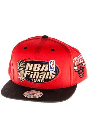 e47a3619a3b The Chicago Bulls 1996 NBA Finals Commemorative Snapback Hat in Red   Black  by Mitchell   Ness