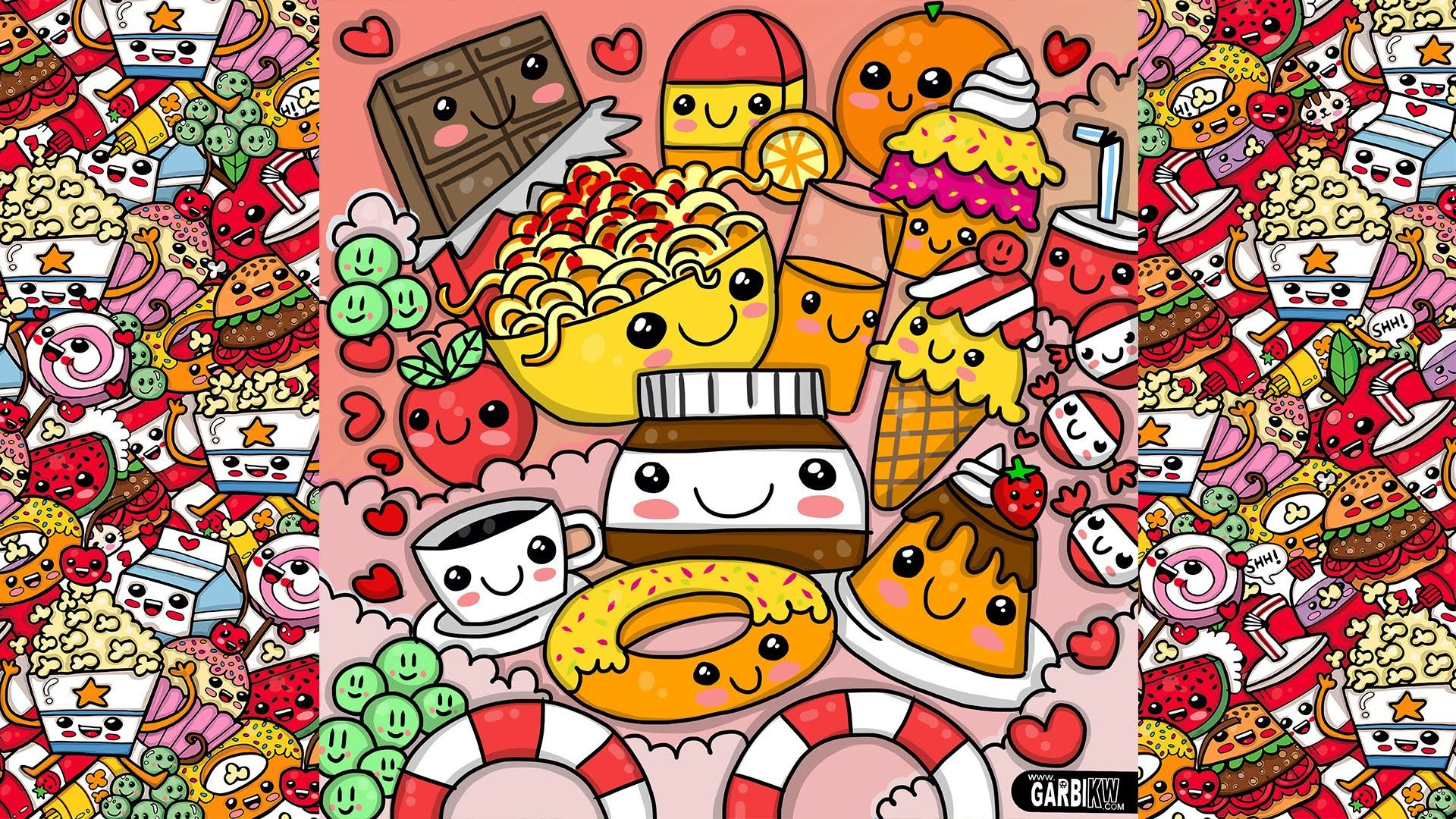 How To Draw Party Kawaii Food by Garbi KW cute cartoons