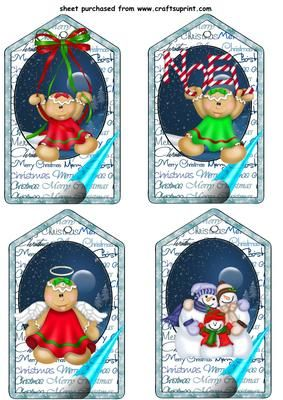 4 Blue christmas gingerbread tag toppers on Craftsuprint designed by Stephen Poore - 4 Blue christmas gingerbread tag toppers - Now available for download!