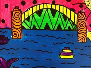 Ken Done Inspired Sydney Harbour Bridge Aboriginal Art For Kids