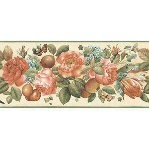 Large Floral Wallpaper Border Off White