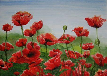 Mohn Vom Winde Verweht Wiese Rot Grun Blumen Bild Gemalte Kunst Blumen Malen Mohn Blumen