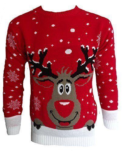 726a5d724960a Pour Hommes Femmes 3D Rudolph Renne Elfe Noël Fantaisie Pull Top Tricoté   Obtenez festive cette saison avec l un de nos cavaliers de Noël.
