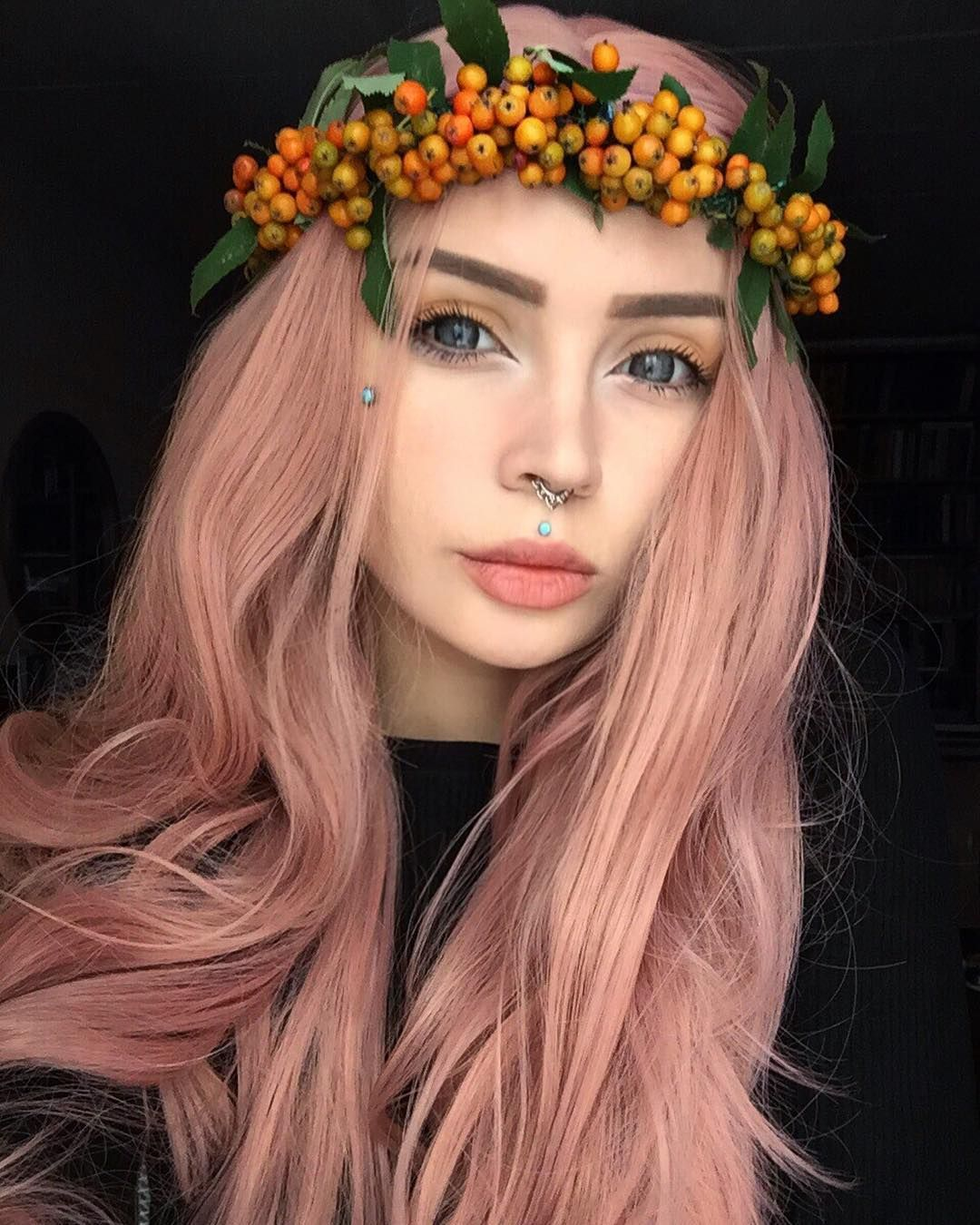Long campsis grandiflora peach pink synthetic lace front wig in