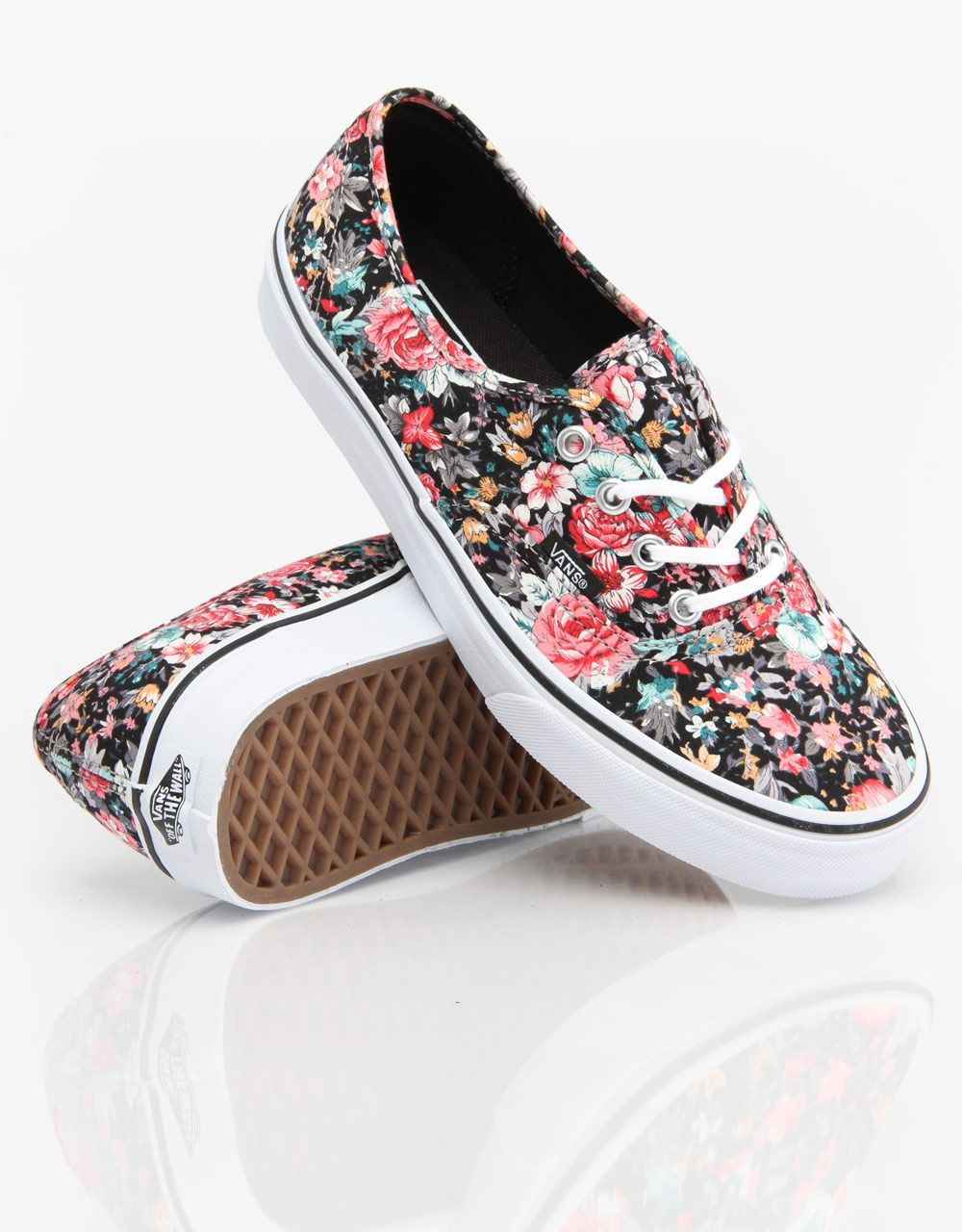 aefb28ad21 Vans Authentic Girls Skate Shoes - Multi Floral Black True White ...