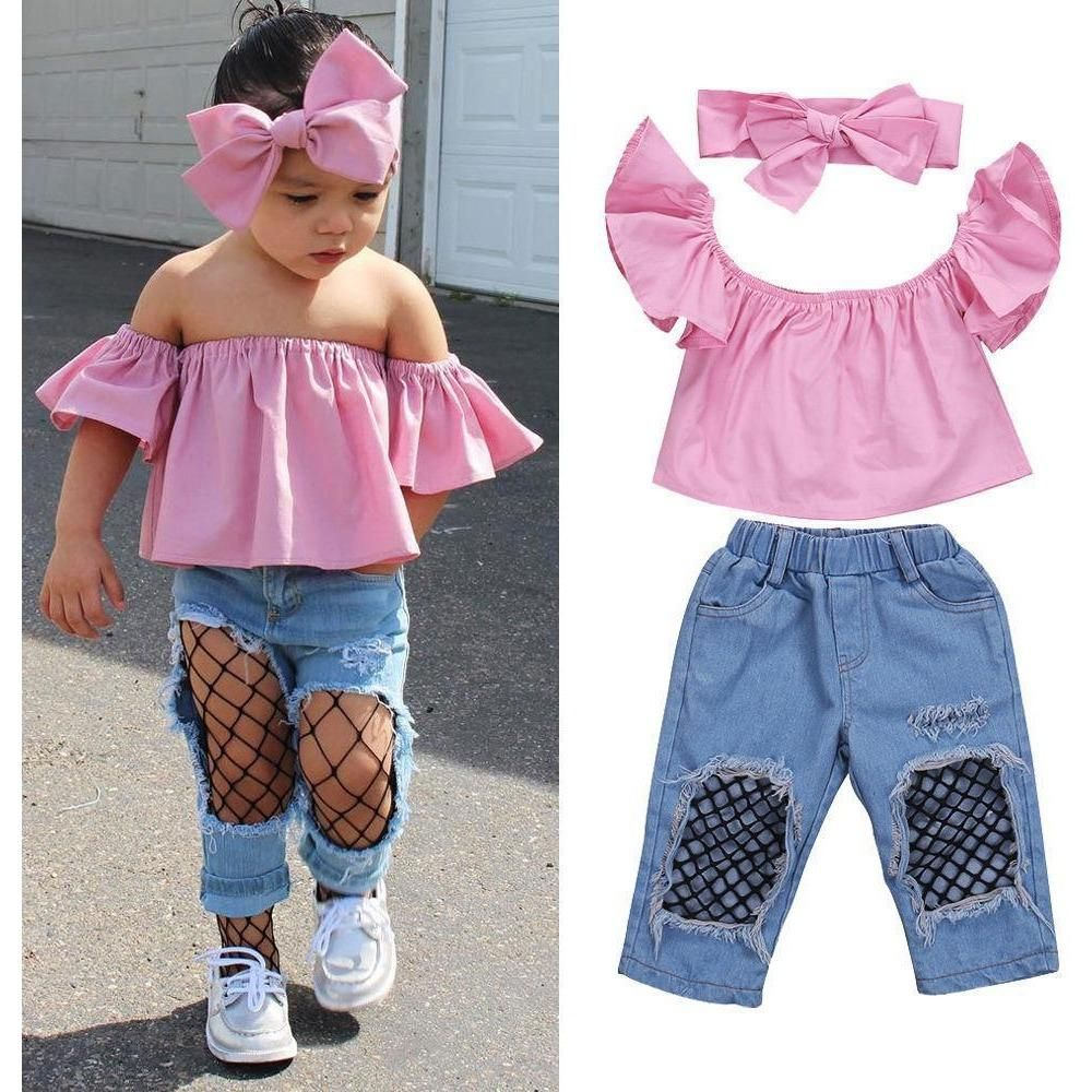 Fashion Kids Baby Girls Ruffles Casual Tops T-shirt+Denim Pants 3PCS Outfits Set