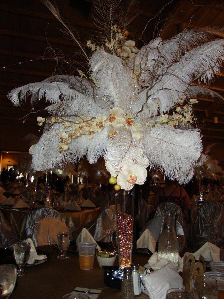 Elegant feather orchid centerpieces wedding black brown