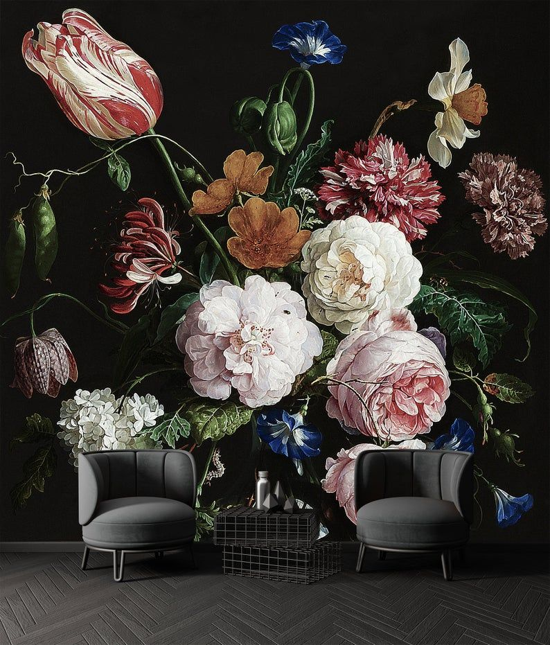 Dark Floral Bouquet Flowers Black Background Art Living Room Etsy Black Flowers Wallpaper Flowers Black Background Large Floral Wallpaper