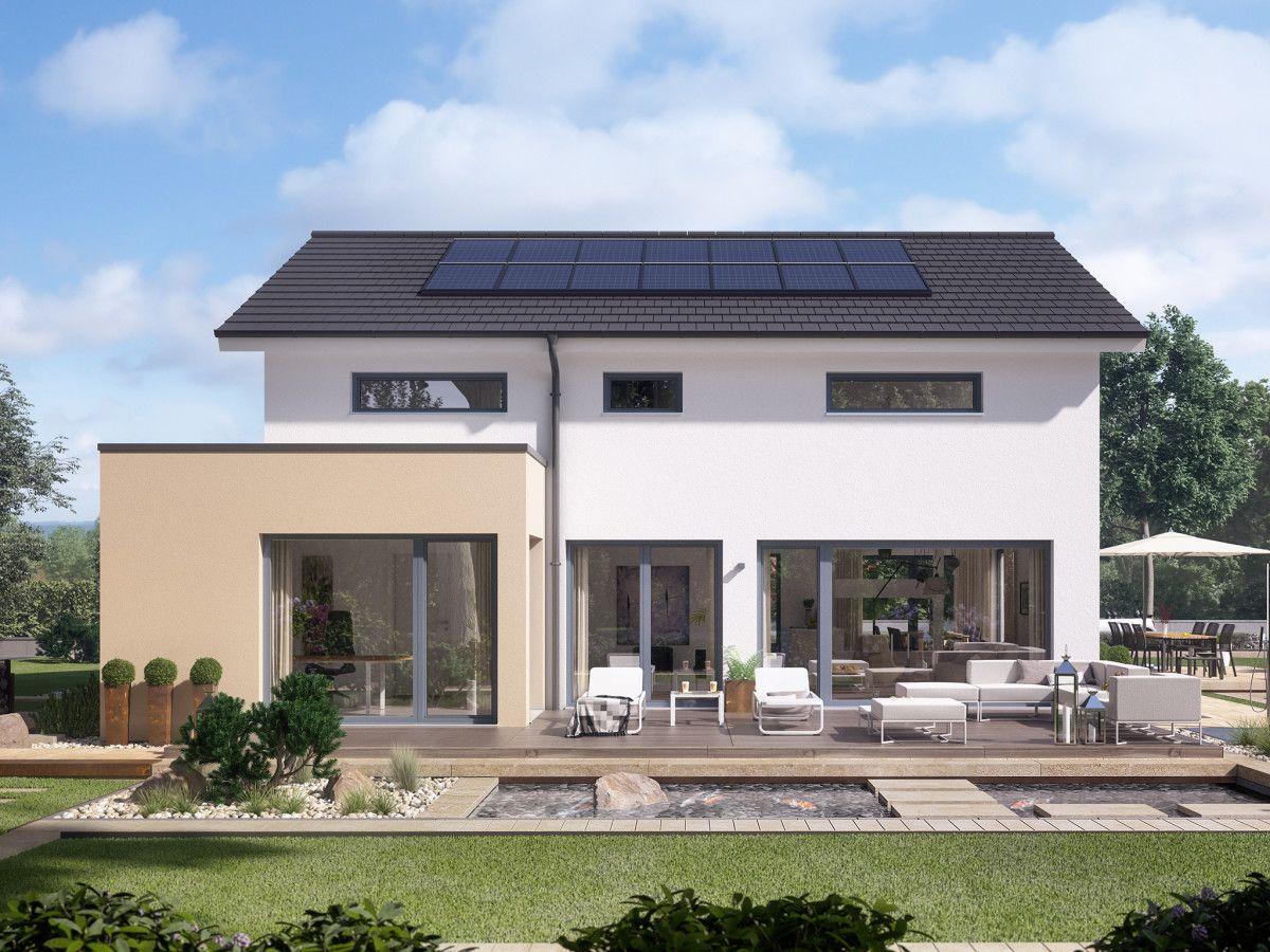 Fertighaus Modern Mit Solarzellen   Einfamilienhaus Concept M 155 Bien  Zenker   Haus Bauen Mit Satteldach Photovoltaik Großer Terrasse Garten Pool  ...
