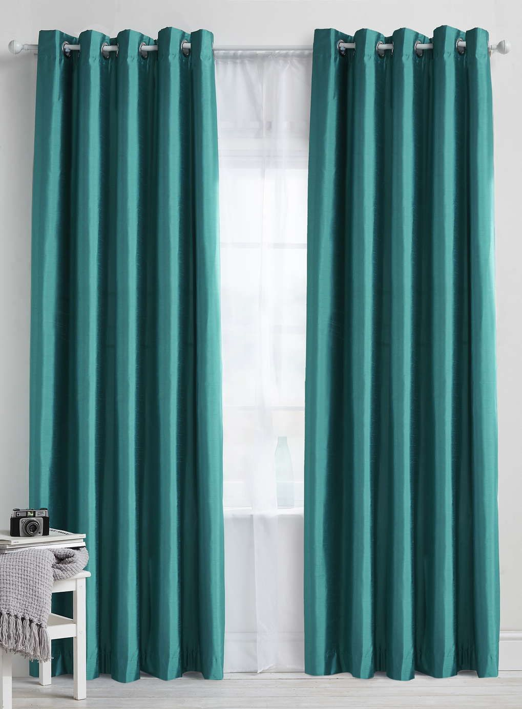 Teal plain faux silk blackout thermal eyelet curtain bhs for Living room ideas blue curtains