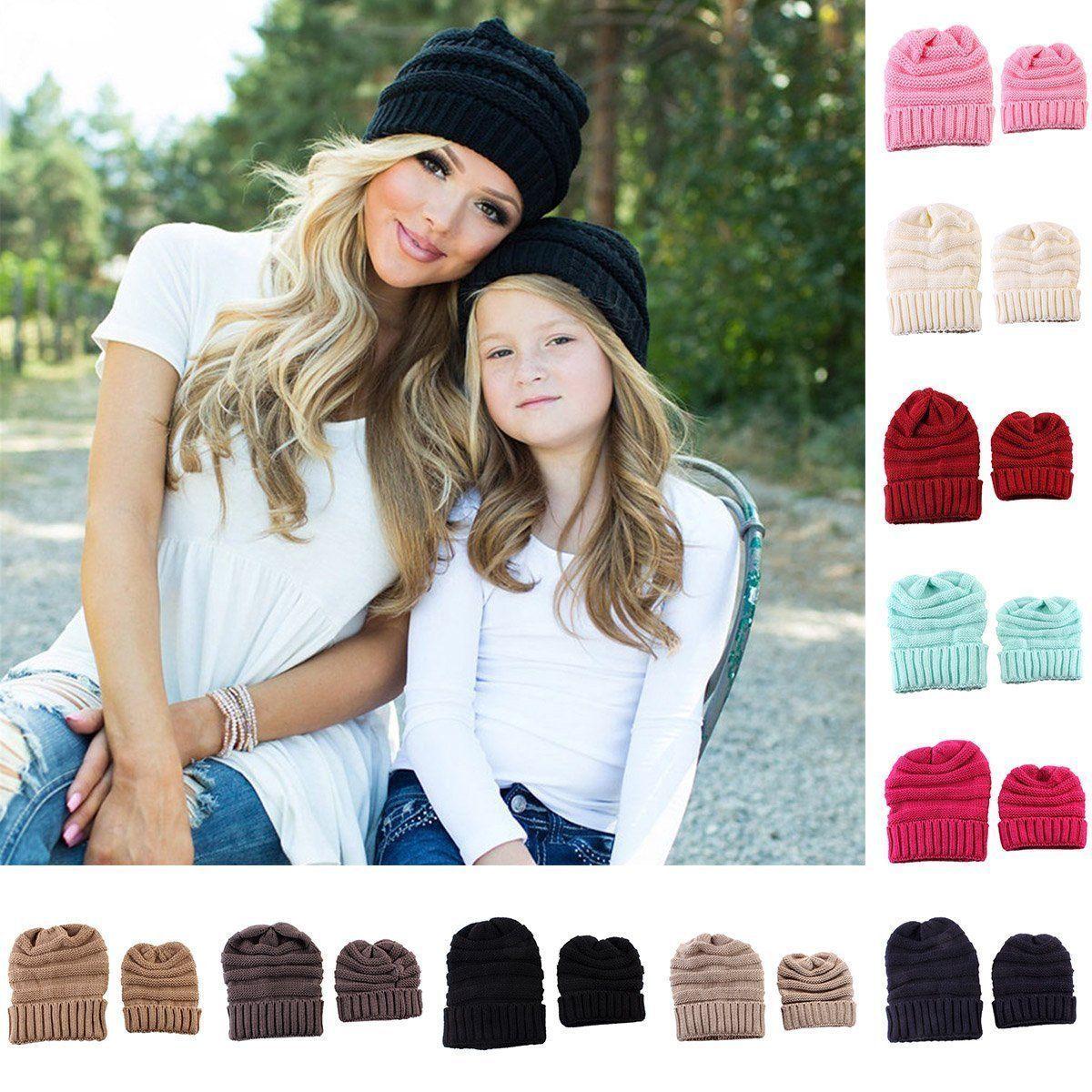 40fe81f7b 2Pcs Women Mother & Baby Child Warm Winter Knit Beanie Baggy Hat ...