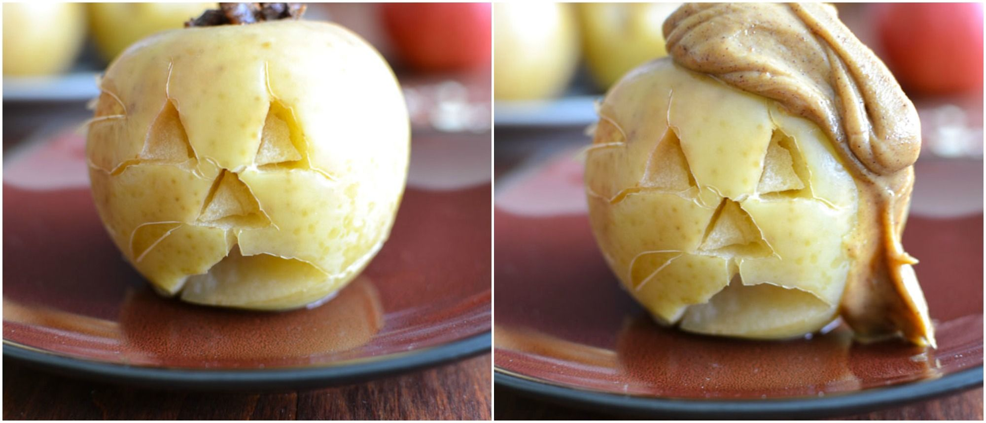 Slow-Cooker Pecan-Stuffed Apples with Cinnamon-Peanut Butter Sauce - The Foodie and The Fix