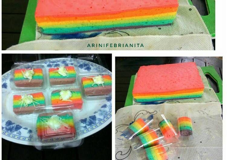Resep Rainbow Cake Kukus Oleh Arini Febrianita Resep Kue Pelangi Makanan Dan Minuman Makanan