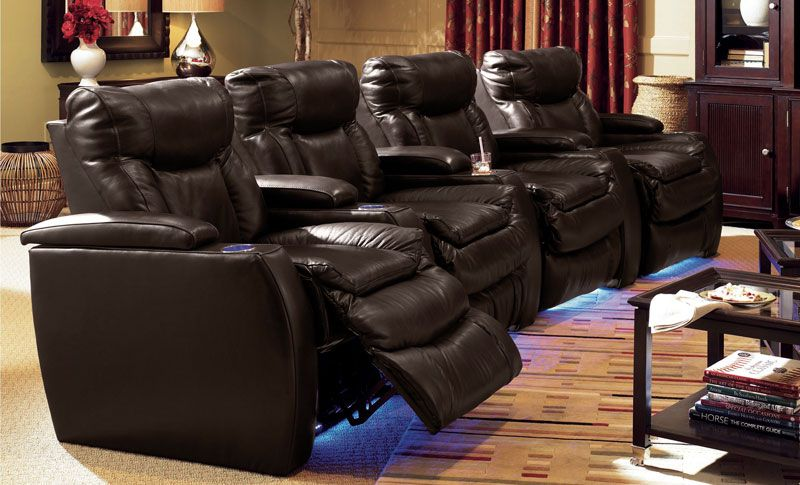 Home Theater 4 Piece Leather Power Recliner Sectional Sofa   Grand Home  Furnishings | K1821