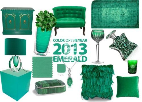 Trend forecaster #Pantone #Color Institute picked Emerald as the 2013 #coloroftheyear– a rich bluish green – as its must-have, go-to hue for #fashion and #homedecor.  What is your #home #decorating #ideas #showcasing #Emerald?