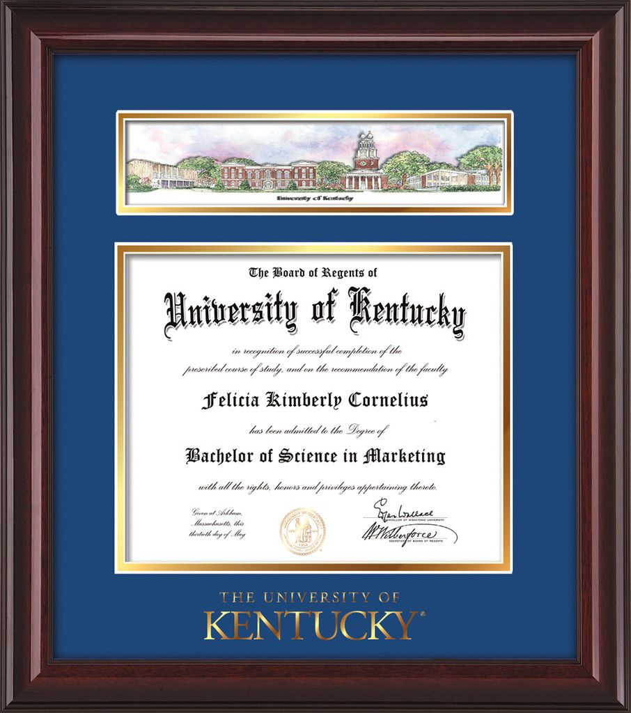 University of Kentucky Diploma Frame - Mahogany Lacquer - w/Embossed ...