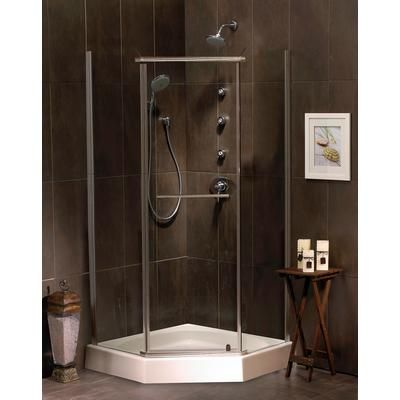 Mirolin - Sorrento 38 Inch Acrylic Neo-Angle Shower Door & Base ...