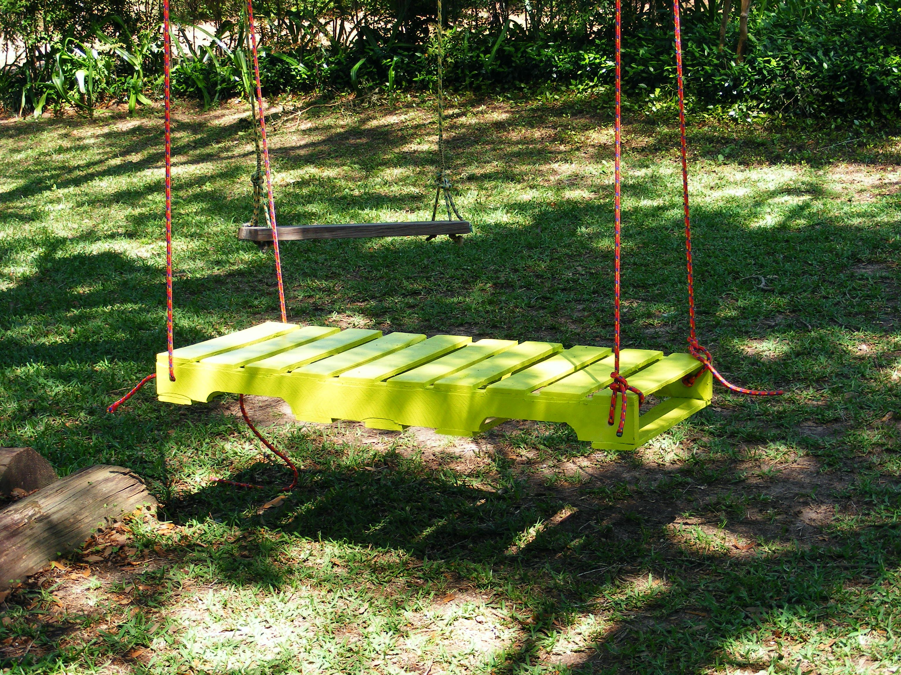Swing from old palletududthe g kids love it so does my baby pallet