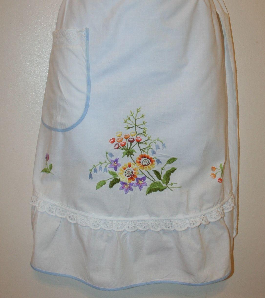 White half apron vintage - Vintage Half Apron Kitchen White Blue Floral Embroidered Pocket Ebay