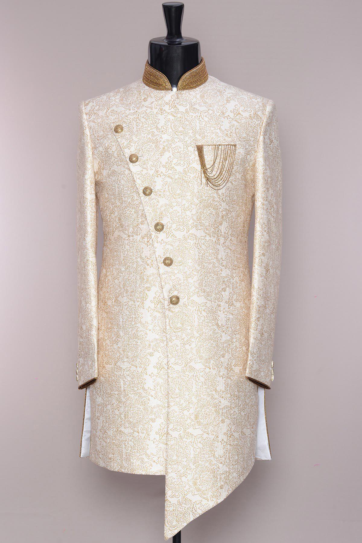Honest New Mens White Achkan Fashion Sherwani Designer Stylish Coat Blazer Jackets Suits & Suit Separates