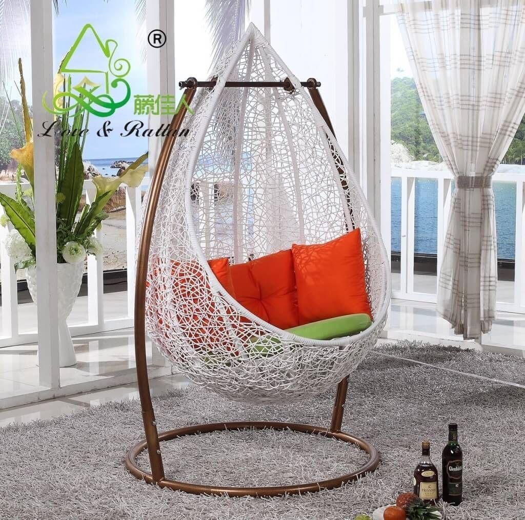 Furniture, Elegant White Rattan Swingasan Chair With