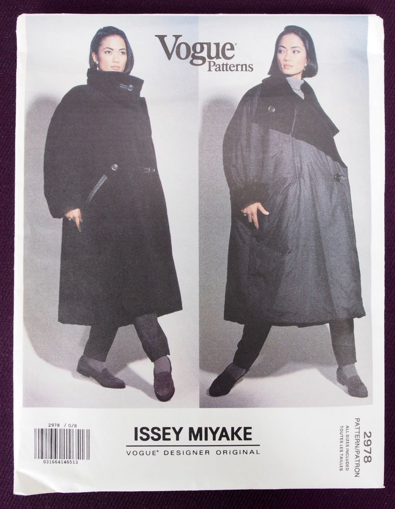 Vogue 2978 Issey Miyake Reversible Coat S/M/L FF sld 34.76+3 11bds 3/13/17 Very loose fitting,contrast lined,double breasted,reversible coat,mid calf, has collar with contrast,dropped shoulders,buttonhole pockets with contrast welts,inside welt pocket and two piece sleeves (longer than full length).