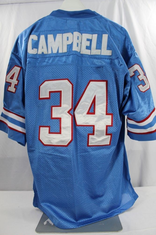 76f3c1ef Houston Oilers Earl Campbell #34 Blue Jersey Mitchell & Ness 52 Throwback  Stitch #MitchellNess #HoustonOilers
