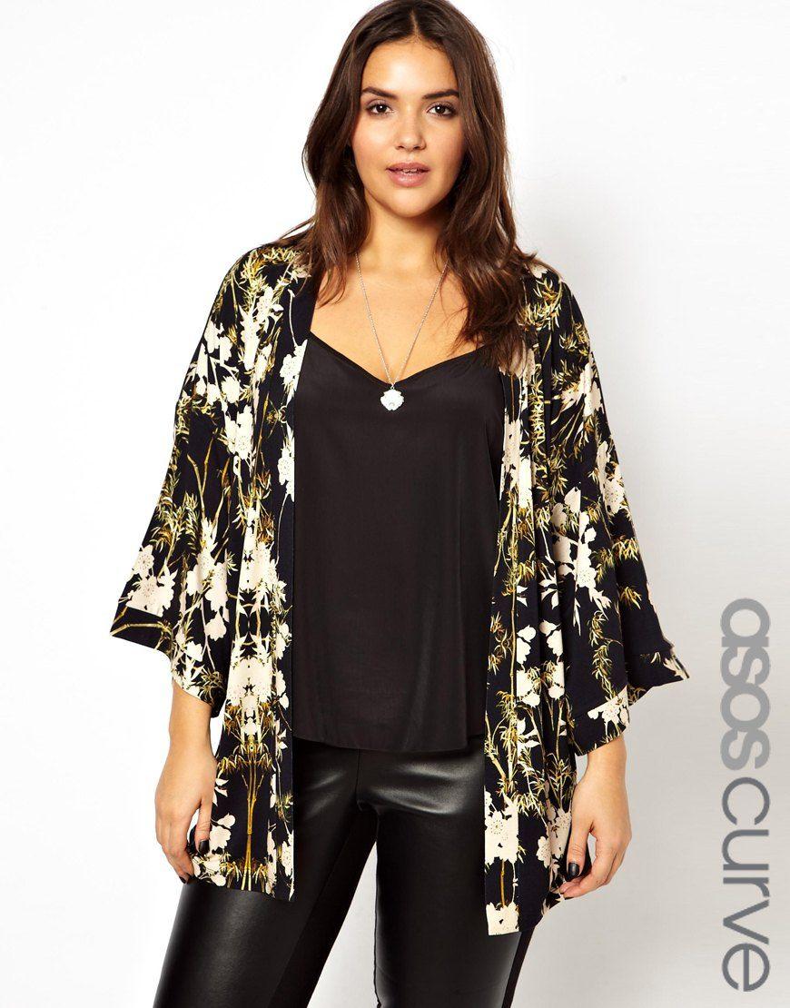 Print Chiffon Kimono Jacket Black Floral Mediumlarge | Asos curve ...