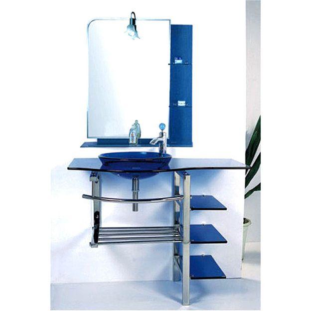 Kokols Modern Bathroom Vanity And Blue Vessel Sink Combo Set From