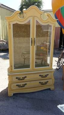 Vintage Hickory Manufacturing Yellow China Cabinet