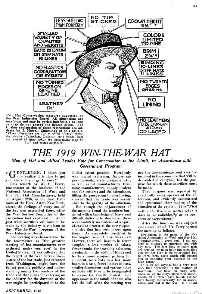 The 1919 Win the War hat - war conservation effort