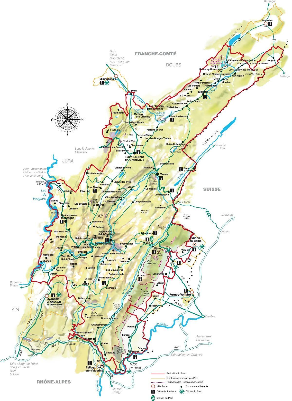 massif du jura carte Carte du PNR du Haut Jura | Parc naturel, Parc naturel régional, Jura