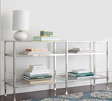 Tanner Long Console Table Nickel Finish Havenly Long Console Home Furniture Home
