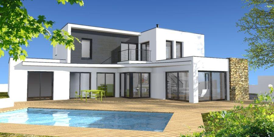Projet du0027une grande maison contemporaine à toit plat avec piscine