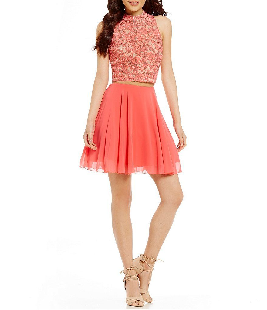 Cheap coral pink homecoming dress two piece prom dress short open