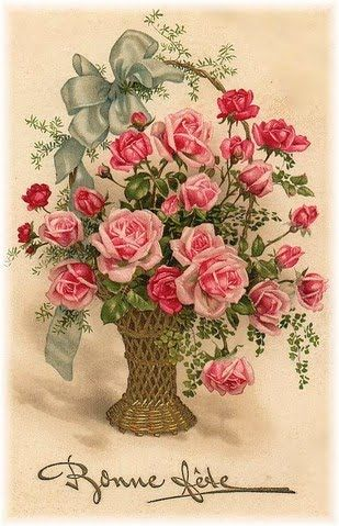 basket of roses happy birthday in french ДЕКУПАЖ pinterest
