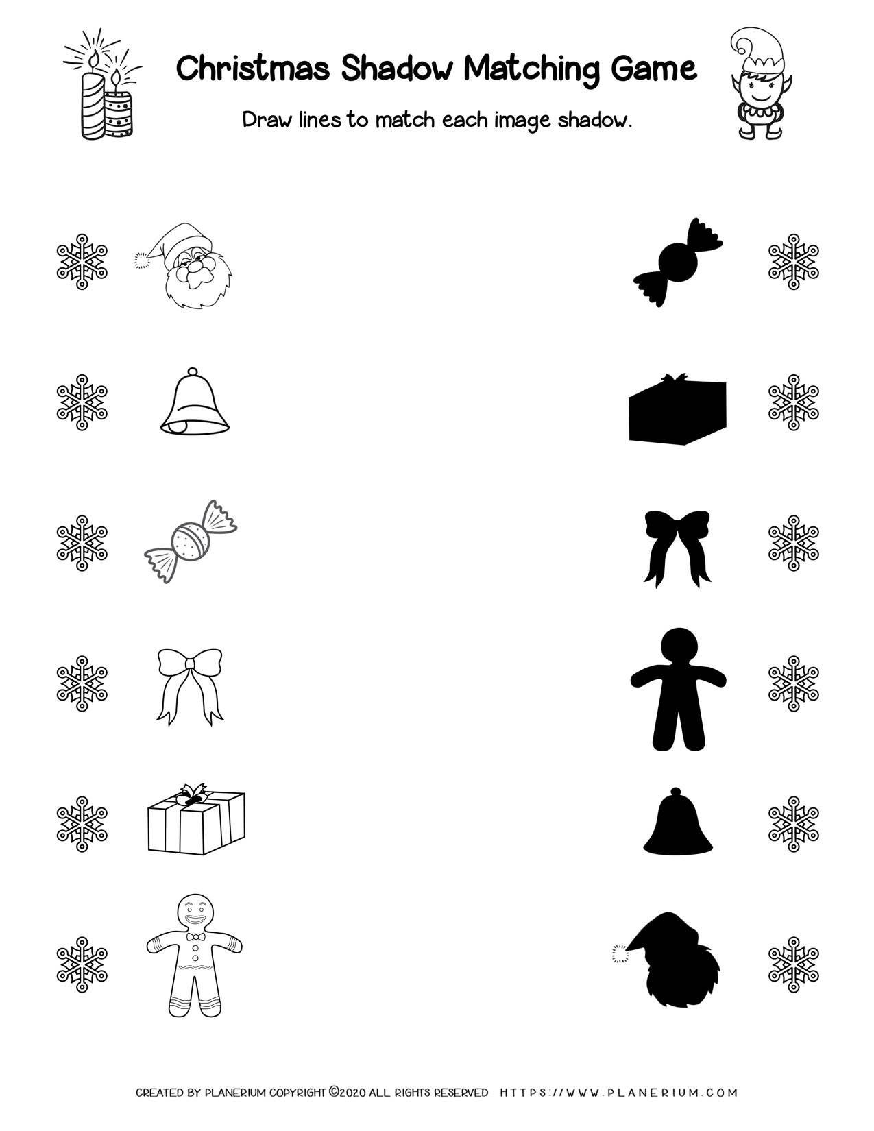 medium resolution of Christmas - Worksheet - Shadow Matching game   Planerium   Christmas  worksheets