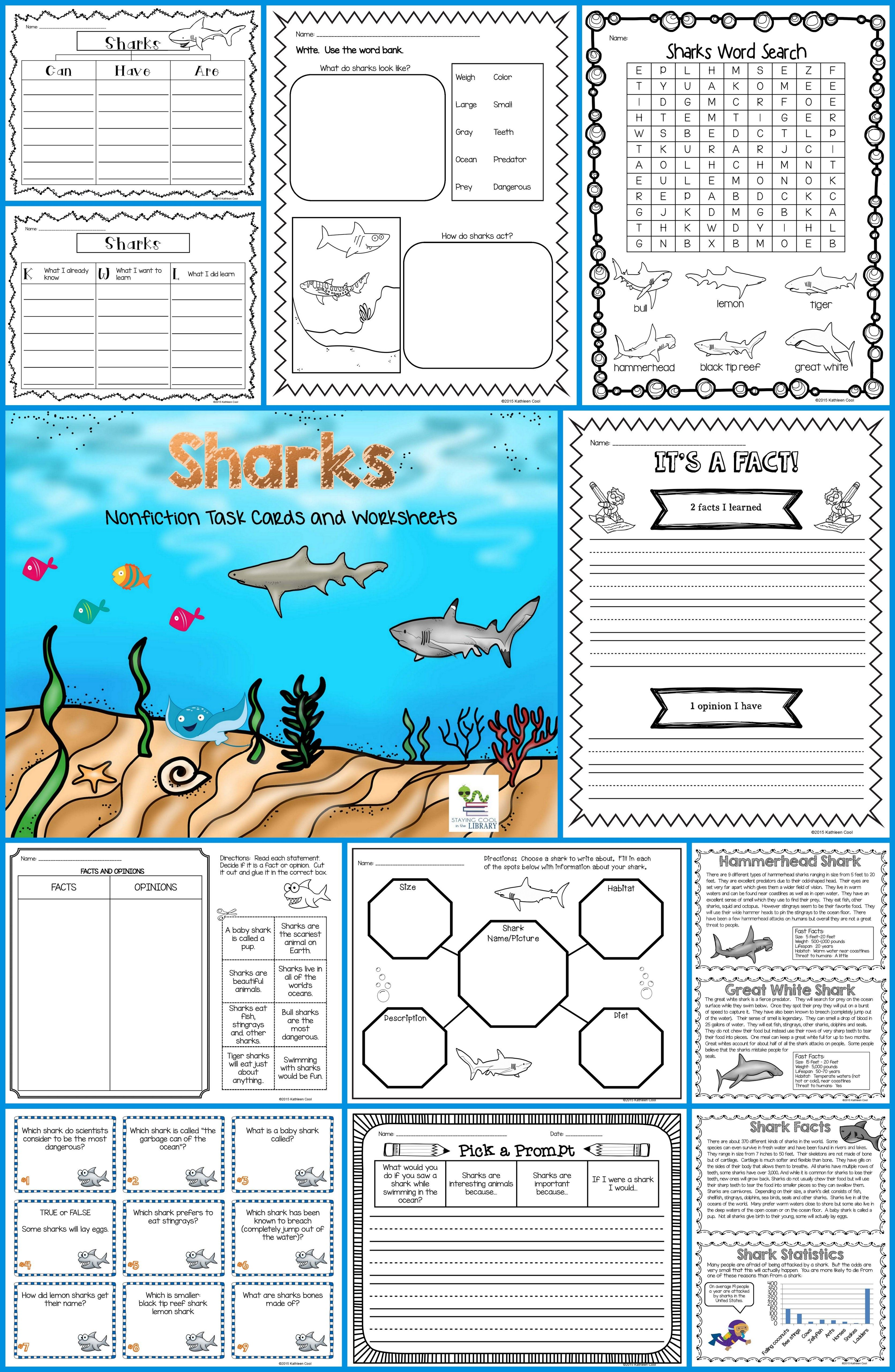 Sharks Nonfiction Task Cards And Worksheets Students Can Learn About 6 Different Kinds Of Sharks With These Task Shark Homeschool Learning Graphic Organizers