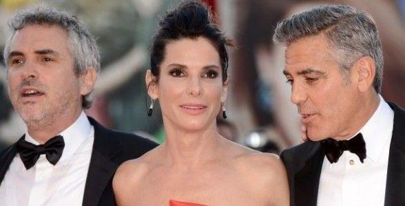 Alfonso Cuarón, Sandra Bullock y George Clooney