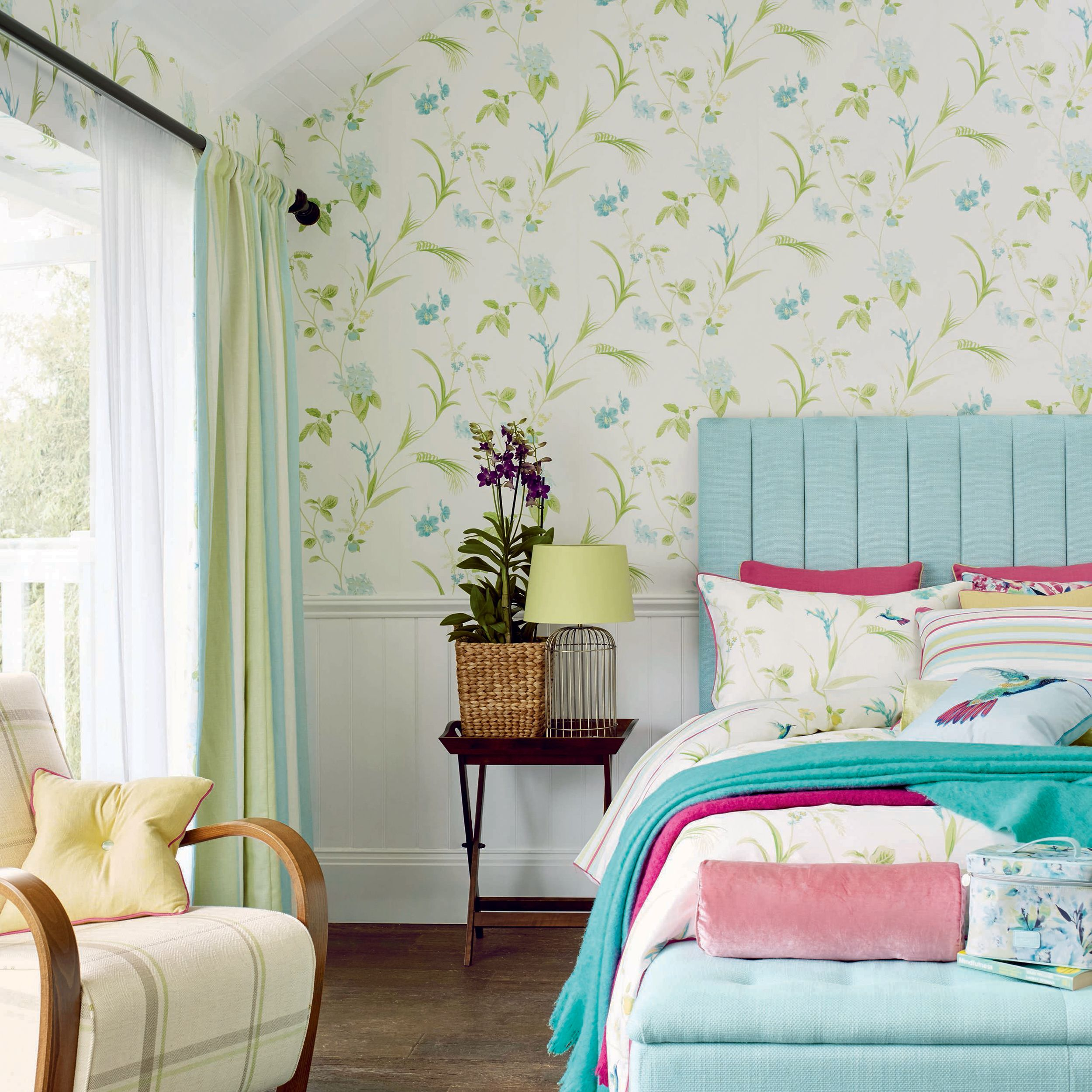 Orchid apple green floral wallpaper ashland style pinterest